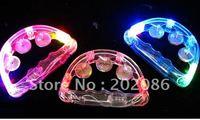 Trialsale 10pcs LED flashing Tambourine Party supplier light up Tambourine Holiday KTV Tambourine free shiping