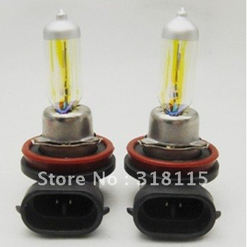 Free shipping Brand New H11 12V 55W Golden Yellow Fog Light Bulbs 3000K 2 Pcs Halogen Xenon