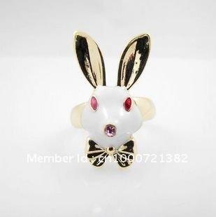 Bow Crystal Rhinestone cute female rabbit ring Korea jewelry natal year ring