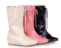 Patent Leather Fashion women's Rainboots, lady boots with Bow & Pink-Beige
