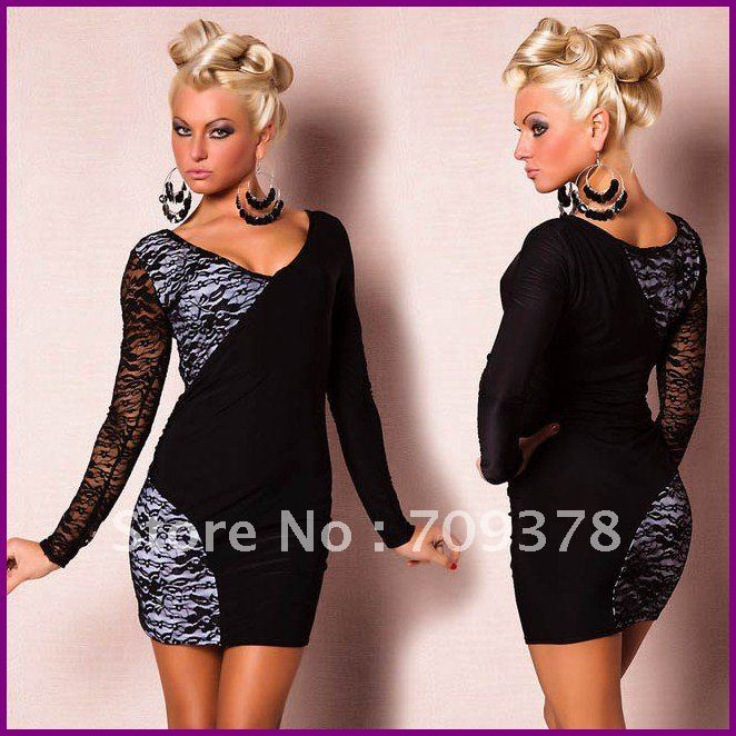Free shipping Long Sleeve Stretch Lace Dress Sexy Clubwear Wholesale 10pcs/lot Dress new fashion 2012 Party dress 2472