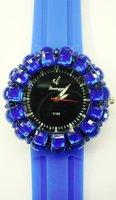 Fashion silicone quartz watch, lady/woman's watch with rhinestone Diamond round freeshipping by DHL/EMS 60pcs/lot