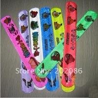 Wholesale Hotsale Mixed color Cartoon Slap Bracelet Promotional Snap wrap toy 500pcs/lot fast delivery free shipping