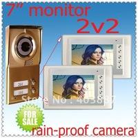 2 keys camera add 2 monitors (Apply to two floors/villas) Free dropshipping security video doorphone intercom systems
