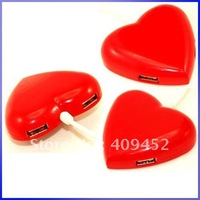 Heart 4 Ports USB 2.0 Hub for Laptop Computer Notebook 30051