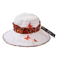 Женская шляпа от солнца Holiday Sale Holiday sale Fashion wide Brim sunbonnet ribbon Trim cloth sun cap KM-0435