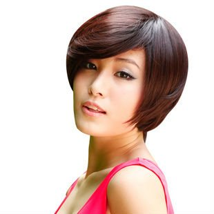 shipping black dark brown short straight wigs with fringe party women