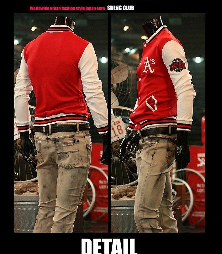 "Free Shipping New Mens Slim Sexy TOP Men's ""AS"" Design Baseball Jacket Uniform men's jackets south cardigan coats(China (Mainland))"