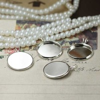 200pcs silver color brass Pendant setting, cabochon settings, tray blank at 12mm round/Free shipping