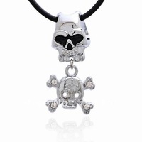 Free Shipping Wholesale,Double Skull Pendant,Cool Stainless Steel Men Pendant Necklace Jewelry