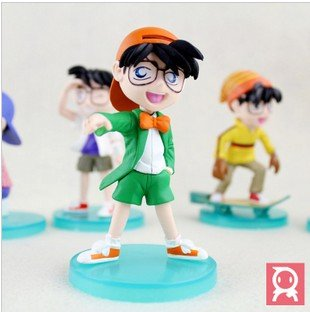 "Free Shipping EMS 4.7""PVC Detective Conan Figure 5pcs/set children toys 20set/lot"