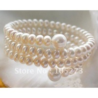 EXTENDIBLE AA 6MM-10MM OFF-ROUND WHITE FRESHWATER PEARL BRACELET FASHION PEARL JEWELRY WHOLESALE NEW FREE SHIPPING FN1113