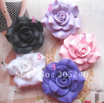 free shipping! clay flower about 48mm 10pcs mixed 5colors(you can select  the color you like or we will ship equally)