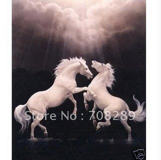 Beautiful white horse paintings - photo#21