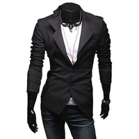 Free shipping  Men's Brand Blazer Asymmetric Suit Leisure Oblique Tuxedo Jacket High Quality Black  Fit style M-XXL    0052