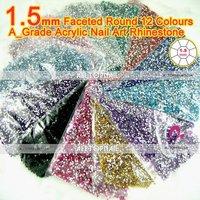 Free Shipping-240000pcs 1.5mm Flat Back Faceted Round Acrylic Nail Art rhinestone A_Grade 12x Nail art Decoration Rhinestone