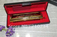 Wholesale-   HOT 16 hole 64 tone golden square chromatic harmonica free case