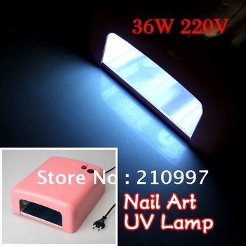Free Shipping 36W Nail Art UV Lamp Gel Curing Tube Bulb Light Dryer Timer Pro Spa Equipment+Retail