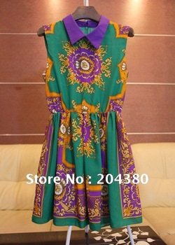 Free Shipping 2012 ECHO The same hit color visual impact Lapel folk style dress sleeveless, ladies dress, women dress, ball gown