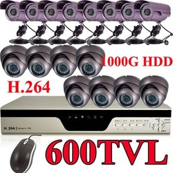 16 CCTV Armour Dome/ CCD waterproof camera 16CH 1TB H.264 DVR Surveilance system(China (Mainland))