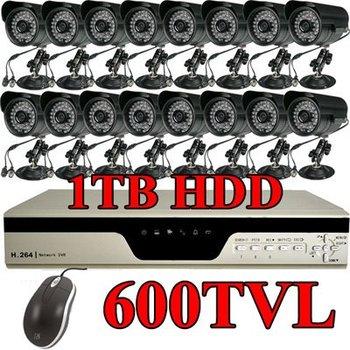16CH 1TB H.264 DVR 16 600TVL CCD 36IR Security Camera CCTV Surveillance System