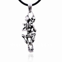 Free Shipping Wholesale,Skeleton Lover Sex Skull Pendant,Cool Stainless Steel Men Pendant Necklace Jewelry