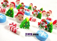 wholesale New Creative Novelty stationery Santa Snowman Christmas tree mini funny Eraser for students Free fast shipping