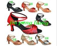 High Quality Latin Dance Shoes Women's Ballroom Shoes 7.5cm Heels 8 Colors EU Size 34-40 10pcs Free Shipping