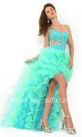 2012 Popular One shoulder Royal Blue Organza Short front long back prom dress , Side and Back Cut Outs ,Sequin Embellished