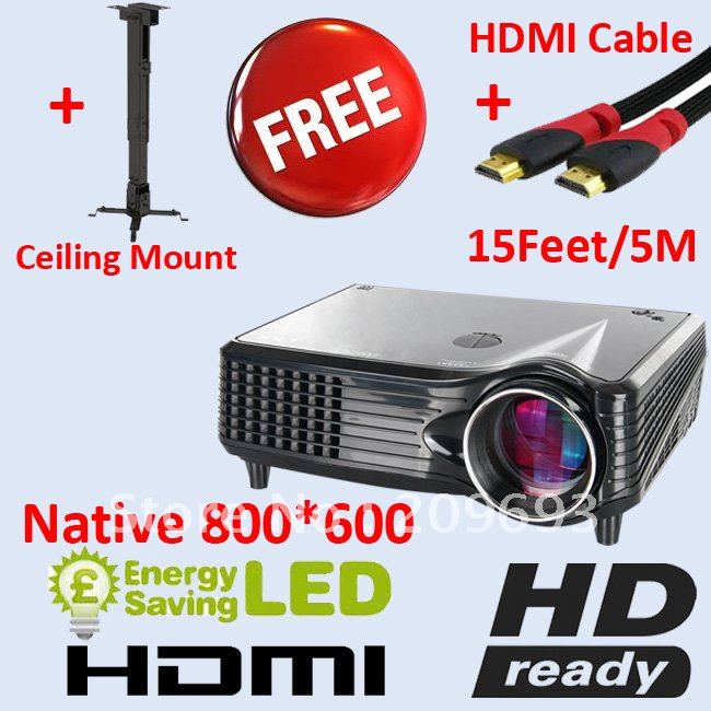 New Promotion Free Shipping Free Cables Free Ceiling Mount 720P HD LED Projector(China (Mainland))