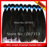 "12"" -30"" 100g  in stock 100% virgin brazilian human hair natural color  silk straight machine made hair weft"