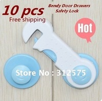 Free Shipping 10pcs Door Fridge Drawers Cabinet Safety Lock For Kids Baby