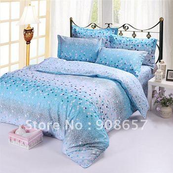 fresh blue omber polka dot pattern Cotton Printed duvet quilt cover set for girl's bedding comforter Queen bed in a bag sets #SL