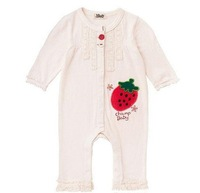 18M-4T Baby Girls' Long Sleeve Rompers Strawberry Infant Bodysuit + Bowknot Headband - Beige ,Free Shipping 5 PCS/lot