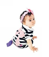18M-4Y Baby Girl Romper/ Infant & Toddle Bodysuits-Black and White Strip with Bow Free Shipping 5pcs/lot
