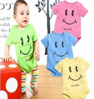 16pcs/lot Cotton Baby's Romper/ Infant Summer Smiling Face Bodysuits