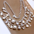 Free shipping retail wholesale amazing 925 Silver 13 multi-drops chain set  jewelry set necklace bracelet  Xmas gift
