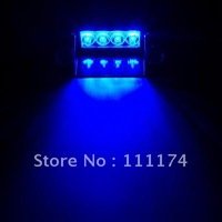 Blue 4 LED High Power Strobe Flash Warning EMS Police Car Light Flashing Firemen Fog Lights 4LED