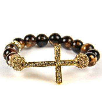 Wholesale NEW Bling SideWays Cross Bracelet Crystal Sideways Gold Agate Beads Bracelets , Faster Shipping,10pcs/lot