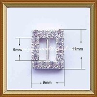 6mm inner bar rectangular rhinestone buckle for wedding invitation