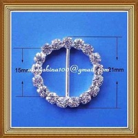 15mm metal rhinestone round buckle