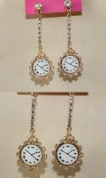 18K gold watch shape crystal post pin earring