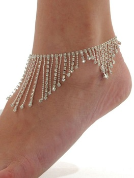 Fashion Rhinestone Anklet Body Jewelry Sexy Products Ladies Fringed Anklet Foot Chain Free Shipping Fashion Rhinestone Anklet