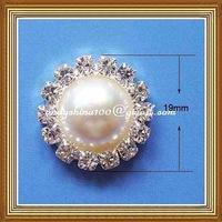 19mm diameter pearl rhinestone embellishment without loop