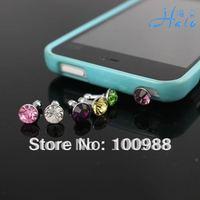 Crystal Rhinestone Dust Plug IP001!100pcs/Lot Mixed colors Free shipping