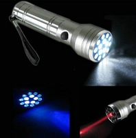 15 LED Flashlight Lamp Torch UV LASER Ultraviolet 3 in 1 Aluminum Camping Pocket Waterproof shockproof and erode prevent
