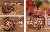 Wholesale ! 50pcs/Lot Fashion Vintage Leopard Grain Heart Shape Necklace Pendant