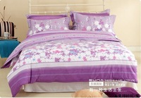 SUNAPurple Snowflake  color combination 100% cotton Twill printed Bedding 4pcs sets For queen-size bed