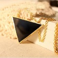 Min.order is $15 (mix order) Fashion wind, Unique black triangle pendant necklace X4306