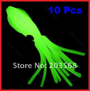 10 Pcs 4.3 inch B2 Fishing Octopus Squid Bodies Luminous Lures Glow in Dark